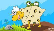 Frosch, Schaf, Käse, Digitale kunst