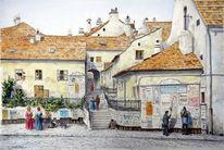 Wien, Realismus, Malerei, Aquarellmalerei
