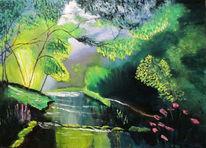 Landschaft, Sacharov, Bach, Malen spachteln ölfarben