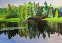 Spiegelung, Wasser, Aquarellmalerei, See