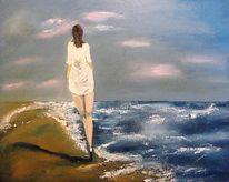 Dämmerung, Frau, Spaziergänger, Meer