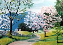 Frühling, Berge, Landschaft, Ölmalerei