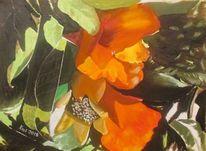 Früchte, Blüte, Granatapfelblüten, Ölmalerei