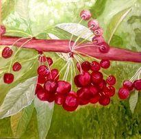 Ölmalerei, Kirschenzeit, Sommer, Wärme