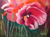 Blumen, Ölmalerei, Mohn, Bunt