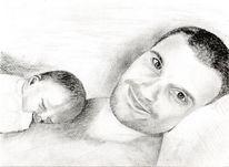 Neugeboren, Zeichnung, Bleistiftzeichnung, Familie