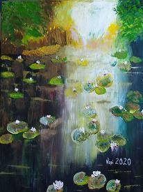 Ölmalerei, Wasser, Spachteltechnik, Seerosen impressionistisch