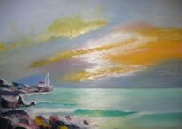Meer, Übung an ölfarben, Ölmalerei, Küste