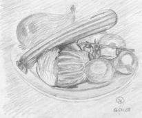 Stillleben, Bleistiftzeichnung, Gemüse, Zeichnung