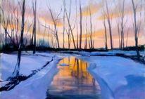 Winter, Schnee, Ölmalerei, Himmel