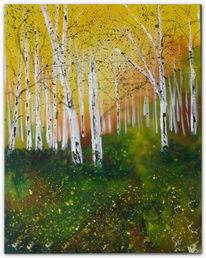 Herbstlicht, Acrylmalerei, Wald, Herbst