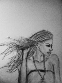 Frau, Haare, Kohlezeichnung, Zeichnungen