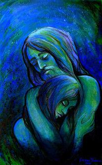 Menschen, Gesicht, Ausdruck, Blau