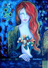 Mythologie, Blumen, Frau, Grün