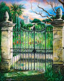 Grün, Natur, Gitter, Acrylmalerei
