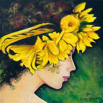 Der gelbe kranz, Blumen, Grazyna federico, Malerei