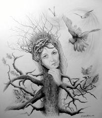 Frau, Eichen, Bleistiftzeichnung, Radierung