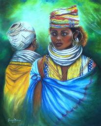 Die bondo frauen, Volk, Tradition, Acrylmalerei