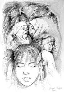 Bleistiftzeichnung, Schwarz weiß, Grazyna federico, Gedanken