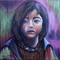 Kinderportrait, Mädchen, Orange, Violett