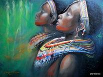 Ölmalerei, Schmuck, Gelb, Afrika