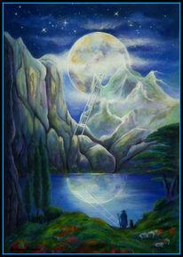See, Meditation, Blau, Fantasie