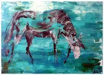 Weide, Abstrakt, Pferde, Türkis