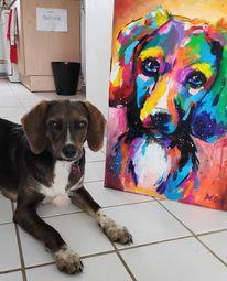 Portrait, Farben, Hund, Expressionismus