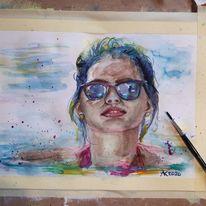 Portrait, Brille, Sommer, Haut