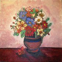 Rot, Vase, Blumen, Stillleben