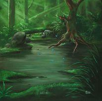 Regenwald, Baum, Wasser, Blätter