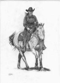 Westernreiten, Bleistiftzeichnung, Reiter, Zeichnung