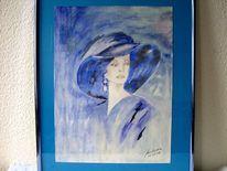 Dame, Elegant, Blau, Malerei