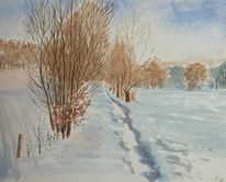 Winter, Baum, Aquarell