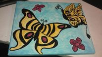 Schmetterling, Blumen, Malerei