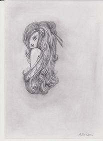 Skizze, Menschen, Frau, Bleistiftzeichnung