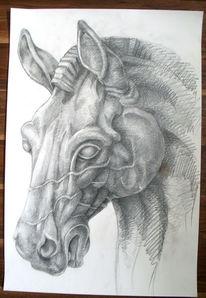 Pferde, Schwarz weiß, Malerei, Tiere