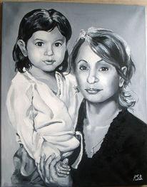 Portrait, Realismus, Mutter und kind, Ölmalerei