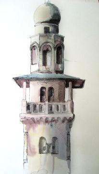 Aquarellmalerei, Architektur, Skizze, Turm