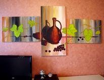 Acrylmalerei, Ranken, Weinblätter, Weintrauben