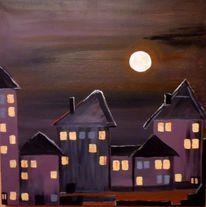 Häuser, Nacht, Vollmond, Malerei