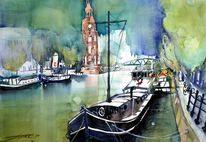 Aquarellmalerei, Amsterdam, Holland, Boot