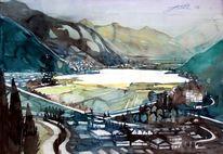 Aquarellmalerei, Pinzgau, Salzburgerland, Landschaft