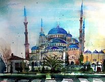 Aquarellmalerei, Sultan, Türkei, Moschee