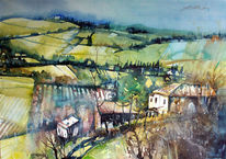Bauernhaus, Feld, Landschaftsmalerei, Aquarell