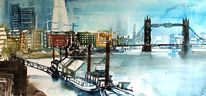 Stadtlandschaft, London, Aquarellmalerei, Tower bridge