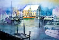 Meer, Aquarellmalerei, Boot, Insel