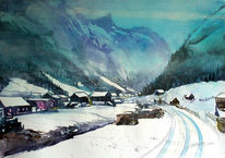 Landschaftsmalerei, Berge, Pitztal, Schneelandschaft