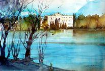 Teich, Landschaft, Schloss, Weiher