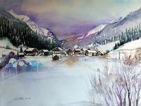 Tirol, Landschaftsmalerei, Scheune, Schnee